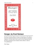 Hunger, by Knut Hamsun