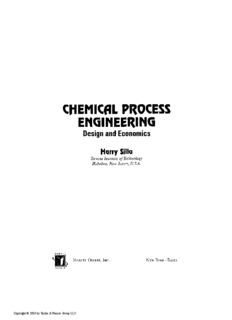 CHEMICAL PROCESS ENGINEERING Design and Economics
