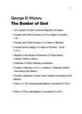 George El Khoury The Banker of God