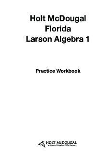 Holt McDougal Florida Larson Algebra 1