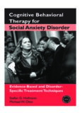 Cognitive Behavioral Therapy for Social Anxiety Disorder: Evidence-Based and Disorder-Specific