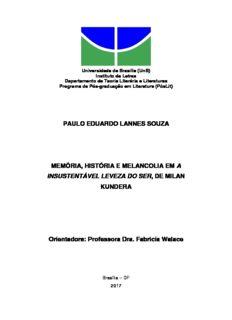 PAULO EDUARDO LANNES SOUZA MEMÓRIA, HISTÓRIA E MELANCOLIA EM A ...