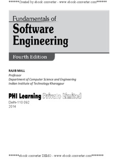 Fundamentals of Software Engineering, Fourth Edition, Rajib Mall