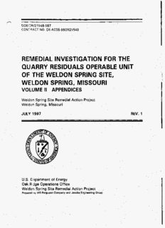 remedial investigation for the quarry residuals operable unit of the weldon spring site, weldon